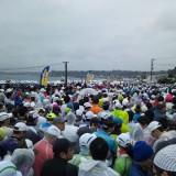 雨の中のハーフマラソン。。