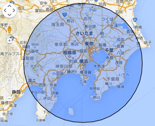 便利サイト:地図上に半径○○kmの円を表示する方法   CEOブログ